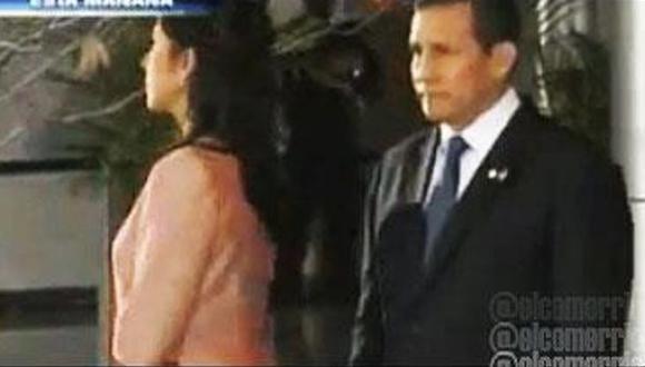 DESAIRE. Nadine dejó a Humala con la palabra en la boca. (Imagen de TV)