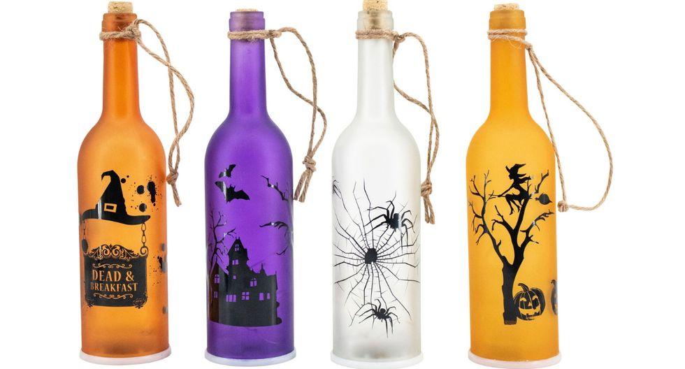 Botellas de vidrio con luces LED de diseños escalofriantes. (Foto: Difusión)