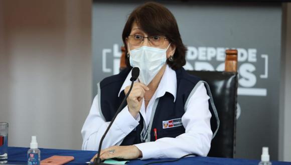 Pilar Mazzetti anunció el primer caso de la nueva cepa de Covid-19 en el Perú. Foto: Britanie Arroyo / @photo.gec