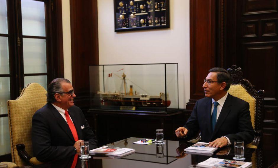 Esta fue la primera reunión entre Vizcarra y Olaechea a solas desde que este último ganó la presidencia del Parlamento. (Foto: Presidencia)
