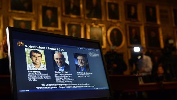 Premio Nobel de Química 2014 para los tres padres de la nanoscopía. (AFP)