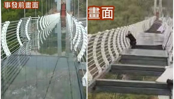 Los fuertes vientos dejan a un turista colgando de un puente de cristal en China. (Foto: @MattCKnight / Twitter)