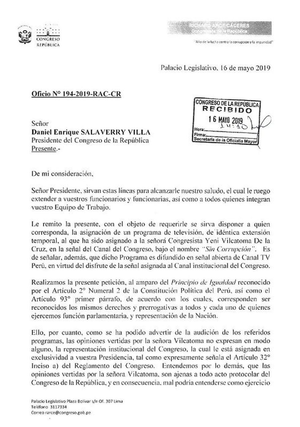 Carta de Richard Arce por programa de Yeni Vilcatoma.