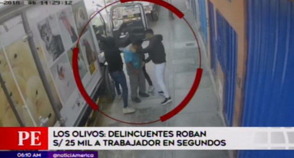 La Policía Nacional tiene en su poder los videos que serán de ayuda para identificar a los delincuentes. (Foto: Captura/América Noticias)