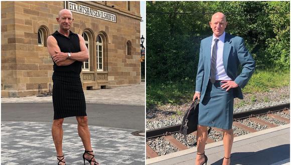 """""""La ropa y los zapatos no deberían tener género"""", dice Mark Brayan, quien asiste a su trabajo usando falda y tacones. (Foto: markbryan911 / Instagram)"""