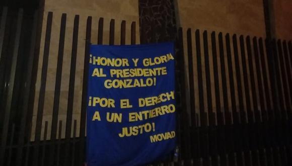 Banderola fue dejada en el Museo de la Memoria de Huancayo.