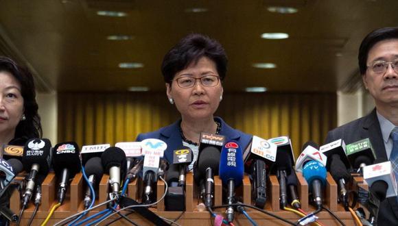 "Jefa del ejecutivo de Hong Kong,Carrie Lam, sobre masivas protestas: ""Son disturbios organizados"". (EFE)"