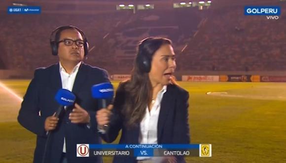 Martín Cassana y Alexandra del Solar pasaron apuros por un rociador de la cancha. (Captura: Gol Perú)