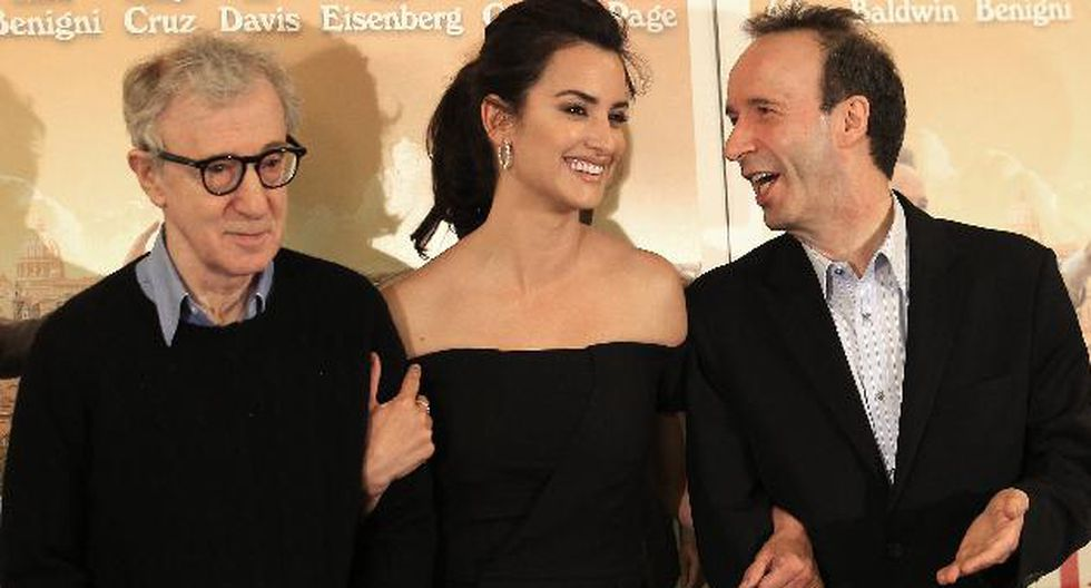 Woody Allen, Penélope Cruz y Roberto Benigni en la presentación de hoy. (Reuters)