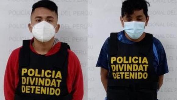 Ellos son Claudio Elías y Joe del Águila, quienes, según informó la Policía, tienen antecedentes por el delito de fraude informático. (Foto: PNP)