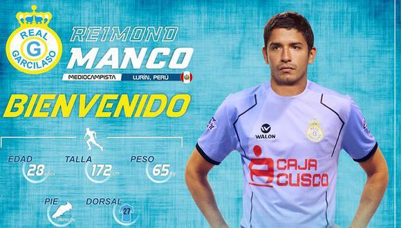 Real Garcilaso anunció así a Reimond Manco en  sus redes sociales. (Foto: Facebook Real Garcilaso)