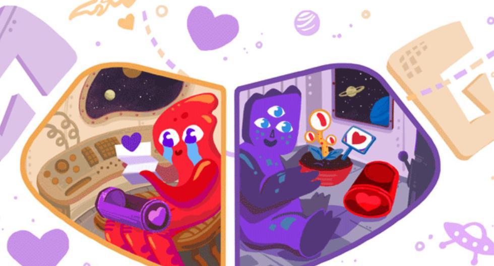 Google realizó este doodle para que sus usuarios celebren el día de San Valentín. (Google)