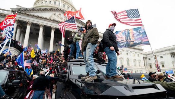 Los seguidores de Trump asaltaron el Capitolio después de una marcha de apoyo al presidente saliente. (Getty Images).