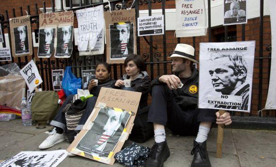 Protestas a favor de Assange. (Reuters)