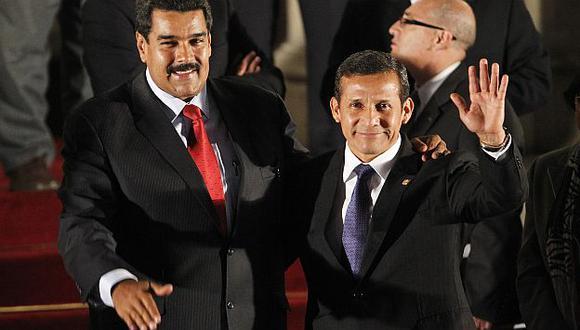 Humala y Nicolás Maduro en la última cita de la Unasur en Lima. (Reuters)