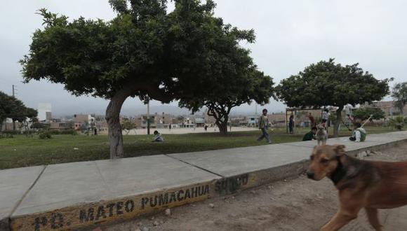 Vecinos despintaron grabados de Surco en parque. (César Fajardo)