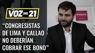 Alberto de Belaunde: Congresistas de Lima y Callao deberían cobrar bono