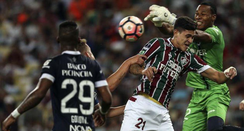Fluminense goleó 4-0 a la Universidad Católica de Ecuador en el Maracaná, escenario donde se desarrolló el duelo de ida entre amos equipos. (EFE)