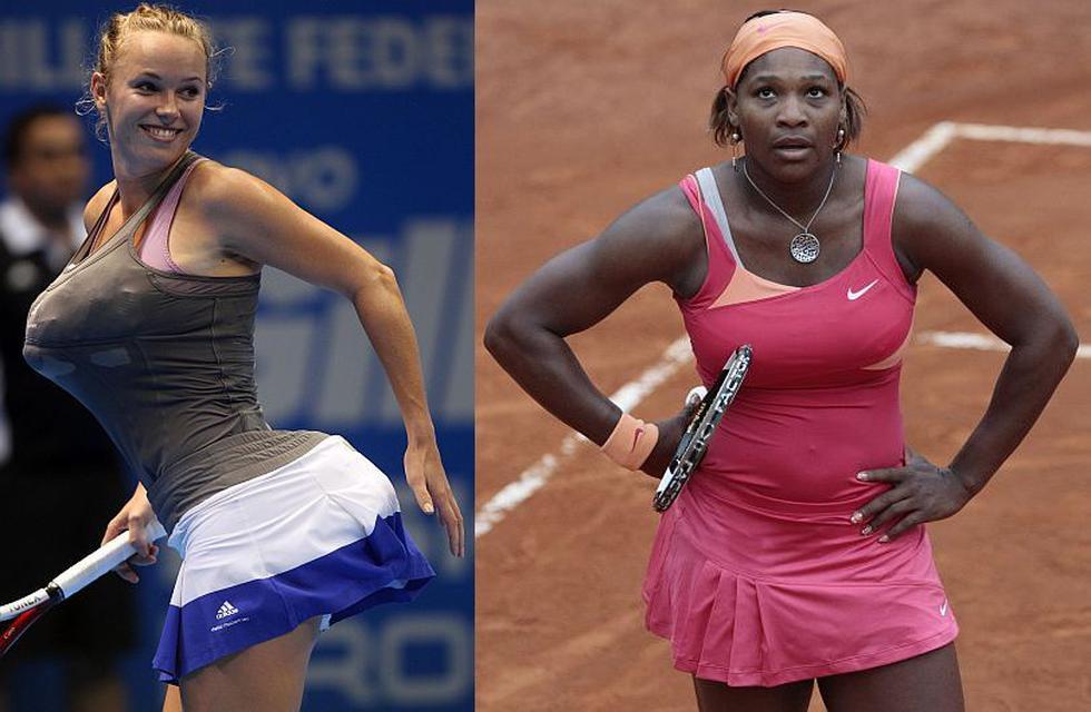 Juguetona, Wozniacki se divirtió a costa de la estadounidense, quien no se hallaba en el lugar. (AP/Gillete)