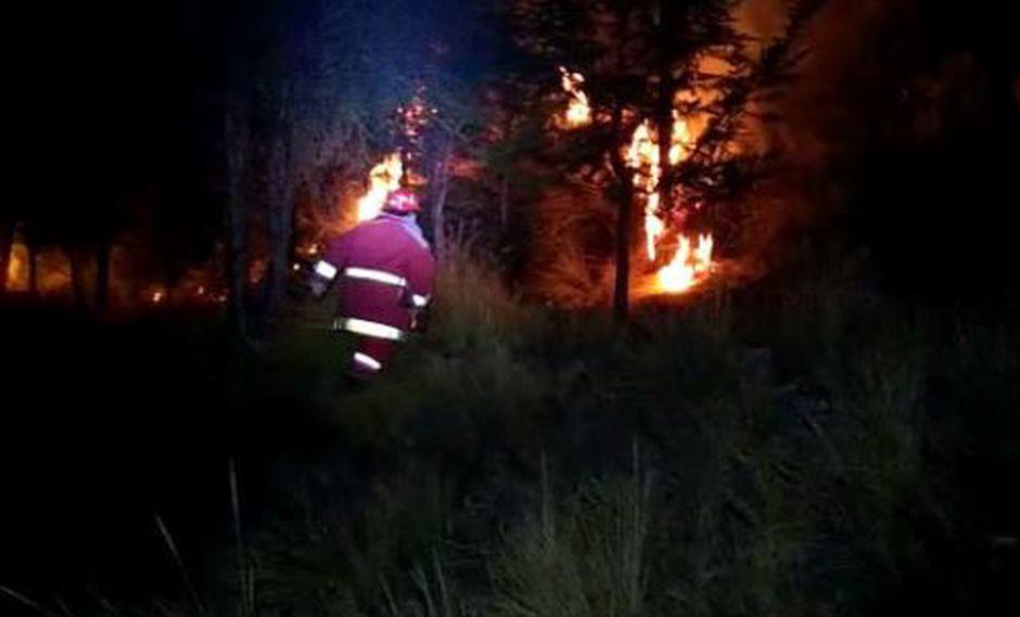 Policía Nacional investiga el incendio forestal en golf ubicado al frente del sector Los Punos-Juan Pablo II en La Oroya. (Foto: Andina)