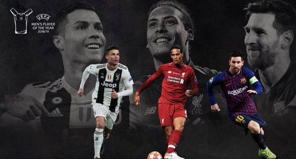 Cristiano Ronaldo, Lionel Messi y Van Dijk luchan por el premio al Jugador del Año. (Foto: UEFA)