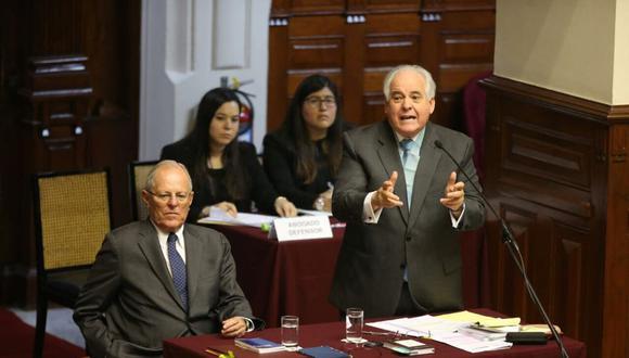 Alberto Borea, expone frene al Hemiciclo la defensa de PPK. (Presidencia)