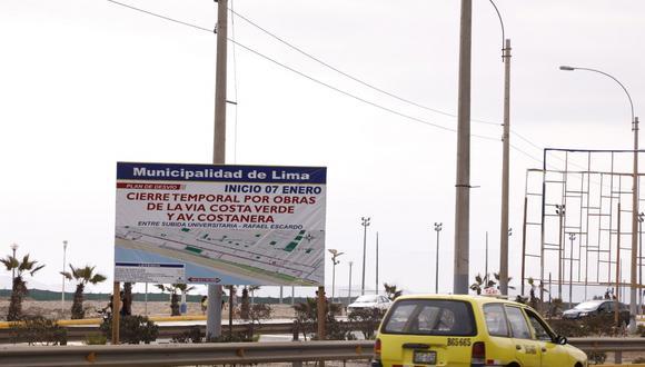 La Municipalidad de Lima informó que se cerrará un tramo de la vía del Circuito de Playas por trabajos de ampliación.