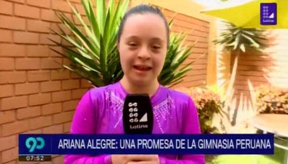 Ariana Alegre, gimnasta peruana que nos representará en las Olimpiadas Especiales. (Foto: Captura de video / 90 Sábado)