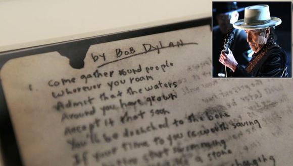 Bob Dylan: Manuscrito original de 'A Hard Rain s A-Gonna..