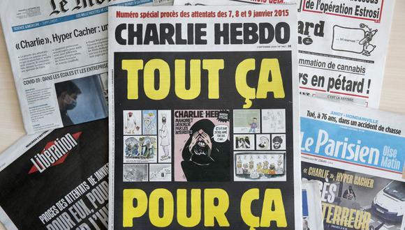 Una fotografía montada muestra la portada del semanario satírico francés Charlie Hebdo con las polémicas caricaturas del profeta Mahoma publicadas en 2012, entre otros periódicos de portada franceses, el día de la inauguración de los atentados. (EFE/YOAN VALAT).