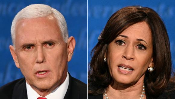 Mike Pence y Kamala Harris participaron de único debate en  Salt Lake City, Utah. (Foto: Robyn Beck, Eric BARADAT / AFP)