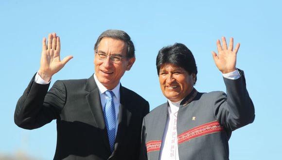 El presidente Martín Vizcarra le dio la bienvenida a su homólogo boliviano Evo Morales al V Gabinete Binacional. (Foto: Presidencia)