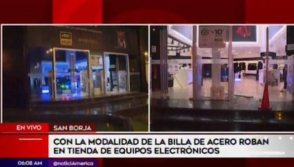 Se trata del segundo robo en menos de tres meses a la tienda Sony en San Borja. (Captura: América Noticias)