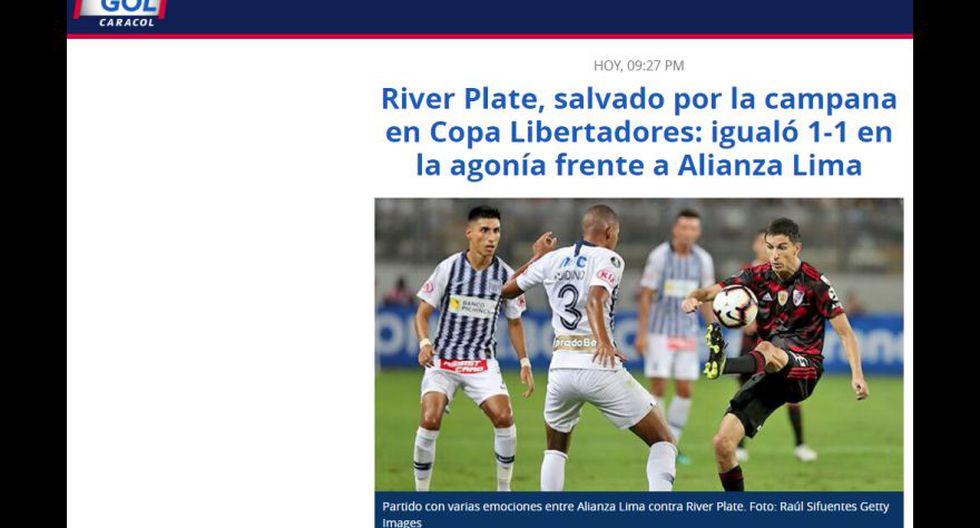 La reacción de los medios internacionales tras el empate entre Alianza Lima y River Plate. (Gol Caracol, de Colombia)