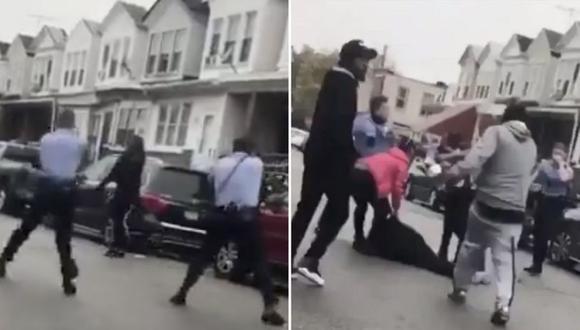Un video registra el momento en el que el joven es abatido por dos agentes en Filadelfia. El sujeto, quien habría sufrido de problemas mentales, portaba un arma blanca según las autoridades. (Capturas de video)