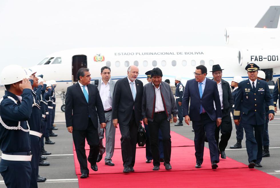Presidente de Bolivia Evo Morales, llegó a Lima para participar de los 50 años de creación de la Comunidad Andina de Naciones. (Andina)