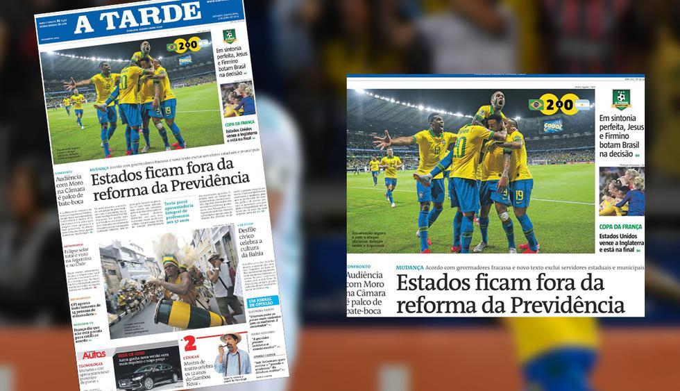 Los diarios de Argentina y Brasil amanecieron en un contraste de sentimientos: unos celebran y otros lloran.