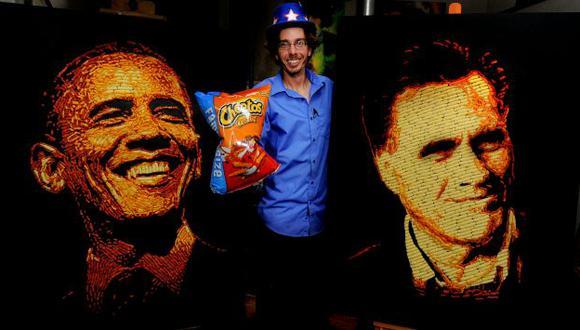 Jason Baalman elaboró retratos de candidatos con los snack 'Cheetos' en Colorado. (AP)