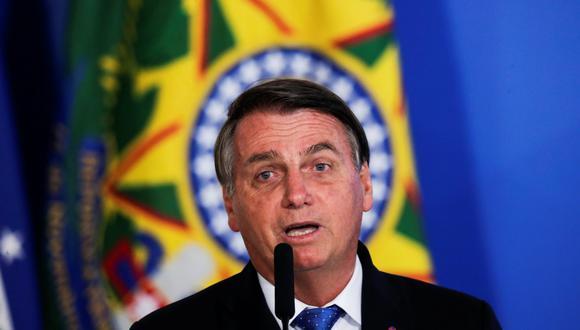 El presidente de Brasil, Jair Bolsonaro, habla durante una ceremonia en el Palacio Planalto en Brasilia, el 7 de octubre de 2020. (REUTERS/Ueslei Marcelino).