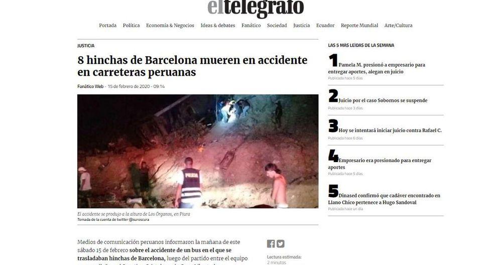 El diario El Telégrafo de Ecuador informó que la cancillería activará puntos de apoyo para hinchas del Barcelona SC accidentados en Perú. (El Telégrafo).