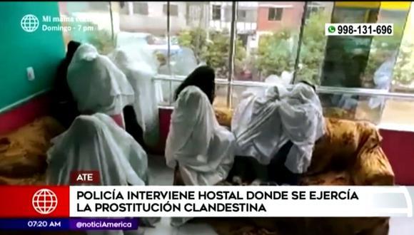 Autoridades intervinieron hostal 'La Sirenita' de Ate Vitarte. (Captura América)