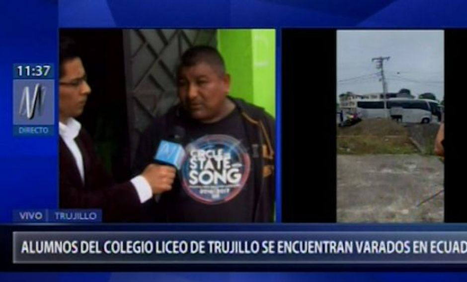 Escolares de un colegio de Trujillo se encuentran varados en Ecuador (Captura: Canal N)