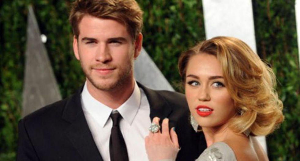 Liam Hemsworth y Miley Cyrus. (Vanity Fair)