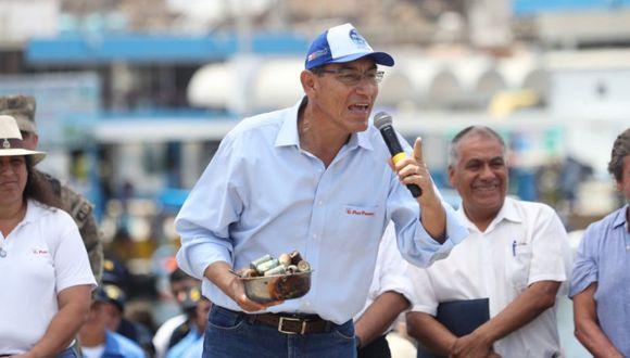 Presidente de la República, Martín Vizcarra, ratificó su respaldo a la Policía Nacional en su lucha contra la delincuencia. (Canal N/El Comercio)