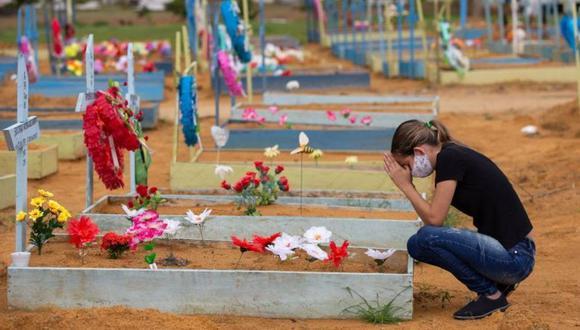 Una mujer llora en un cementerio de Brasil, el país de América Latina más golpeado por el coronavirus. (GETTY IMAGES).