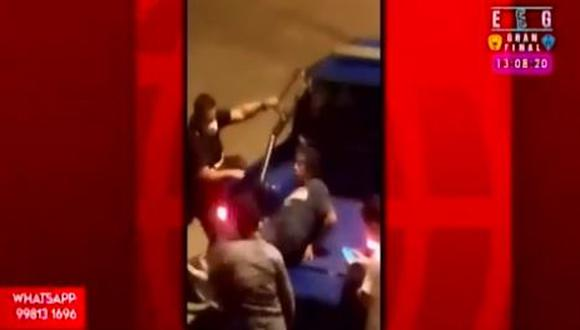 Sujeto acuchilló a mujer e intentó escapar, pero fue capturado por serenazgo. (Captura/América TV)