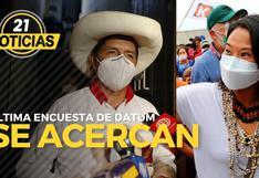 Encuesta de Datum: Castillo y Fujimori se acercan
