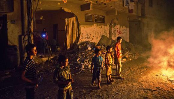 La franja sobre sus ruinas. (AFP)