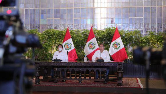Martín Vizcarra encabezó conferencia de prensa desde Palacio de Gobierno en el día 92 de la emergencia sanitaria (Presidencia).