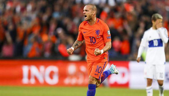 Wesley Sneijder su partido 134 con Holanda (Foto: AFP).